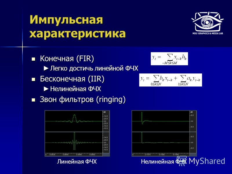 Импульсная характеристика Конечная (FIR) Конечная (FIR) Легко достичь линейной ФЧХ Легко достичь линейной ФЧХ Бесконечная (IIR) Бесконечная (IIR) Нелинейная ФЧХ Нелинейная ФЧХ Звон фильтров (ringing) Звон фильтров (ringing) Линейная ФЧХНелинейная ФЧХ