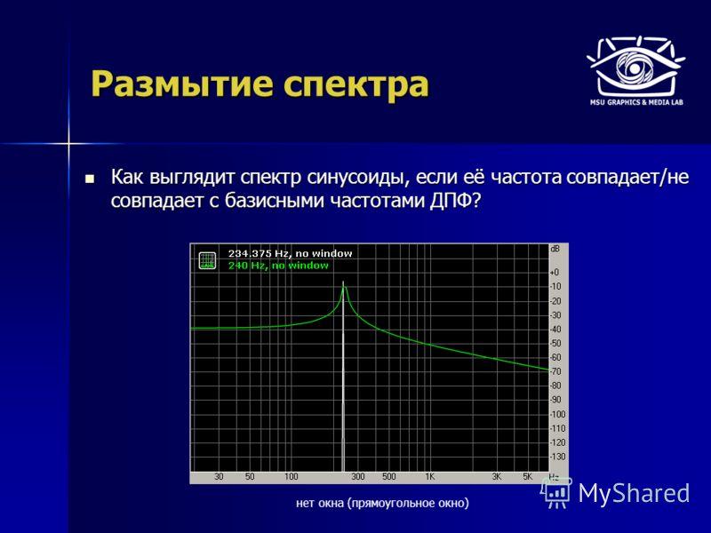 Размытие спектра Как выглядит спектр синусоиды, если её частота совпадает/не совпадает с базисными частотами ДПФ? Как выглядит спектр синусоиды, если её частота совпадает/не совпадает с базисными частотами ДПФ? нет окна (прямоугольное окно)