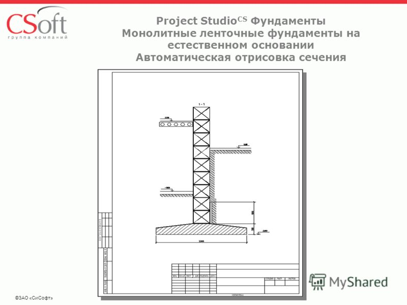 ©ЗАО «СиСофт» Project Studio CS Фундаменты Монолитные ленточные фундаменты на естественном основании Автоматическая отрисовка сечения