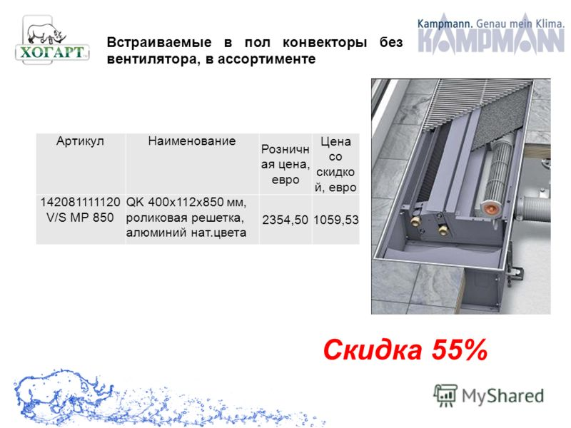 Скидка 55% Встраиваемые в пол конвекторы без вентилятора, в ассортименте АртикулНаименование Розничн ая цена, евро Цена со скидко й, евро 142081111120 V/S MP 850 QK 400x112x850 мм, роликовая решетка, алюминий нат.цвета 2354,501059,53