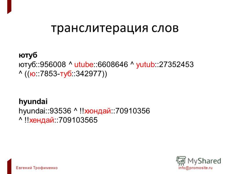 Евгений Трофименкоinfo@promosite.ru транслитерация слов ютуб ютуб::956008 ^ utube::6608646 ^ yutub::27352453 ^ ((ю::7853-туб::342977)) hyundai hyundai::93536 ^ !!хюндай::70910356 ^ !!хендай::709103565