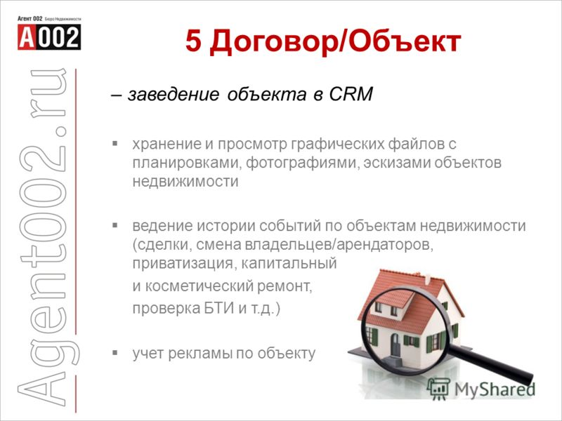 5 Договор/Объект – заведение объекта в CRM хранение и просмотр графических файлов с планировками, фотографиями, эскизами объектов недвижимости ведение истории событий по объектам недвижимости (сделки, смена владельцев/арендаторов, приватизация, капит