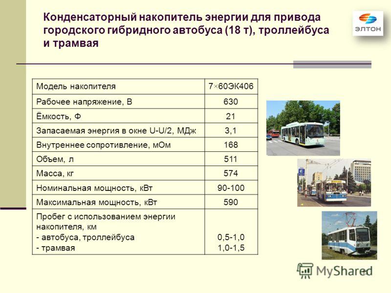 15 Конденсаторный накопитель энергии для привода городского гибридного автобуса (18 т), троллейбуса и трамвая Модель накопителя7×60ЭК406 Рабочее напряжение, В630 Ёмкость, Ф21 Запасаемая энергия в окне U-U/2, МДж3,1 Внутреннее сопротивление, мОм168 Об