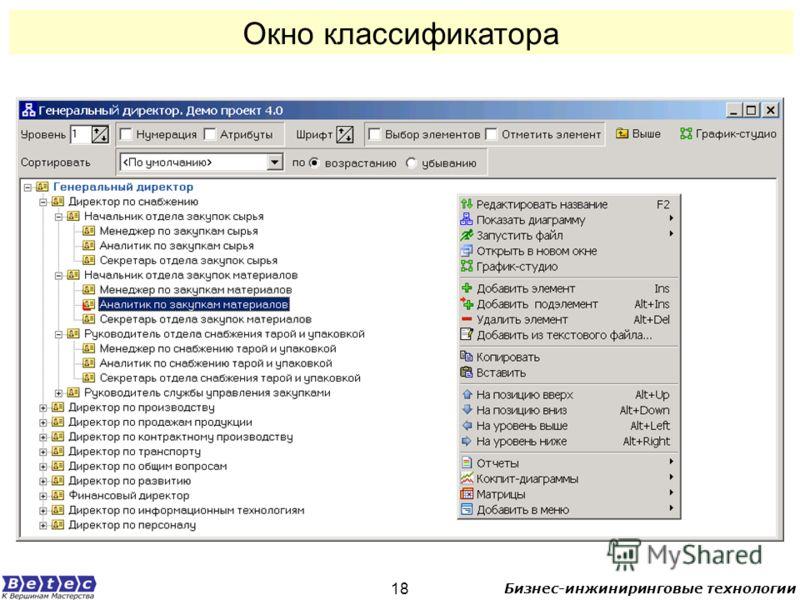 Бизнес-инжиниринговые технологии 18 Окно классификатора