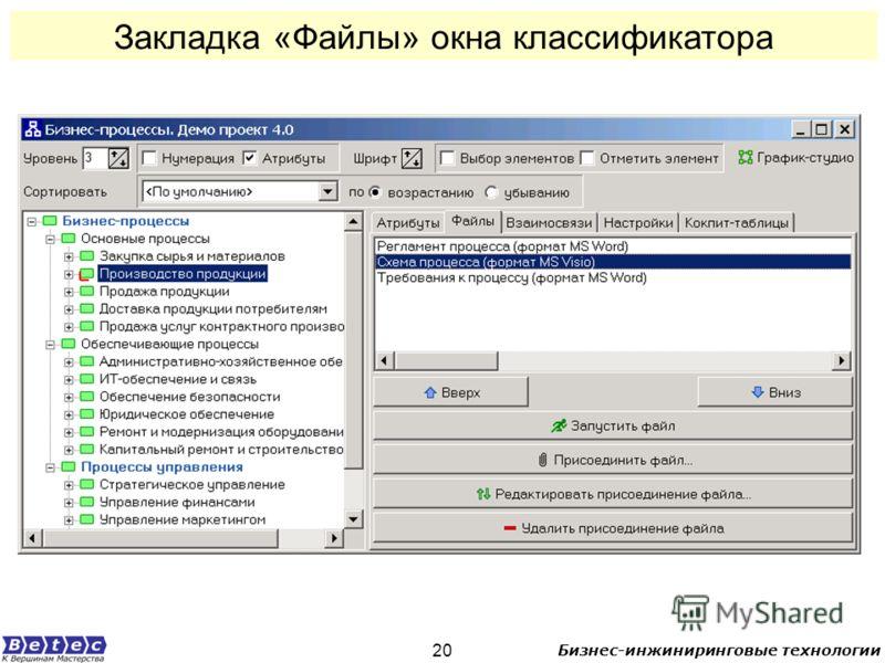 Бизнес-инжиниринговые технологии 20 Закладка «Файлы» окна классификатора