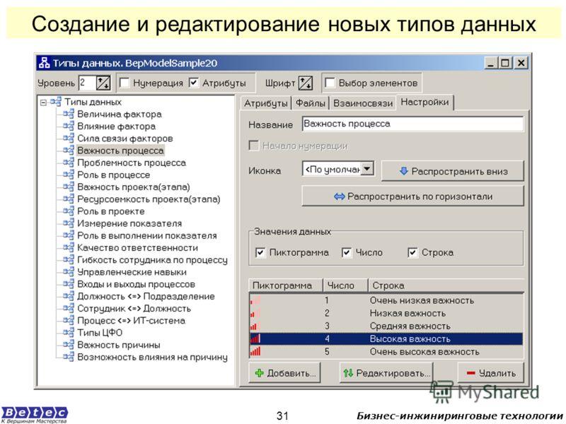 Бизнес-инжиниринговые технологии 31 Создание и редактирование новых типов данных