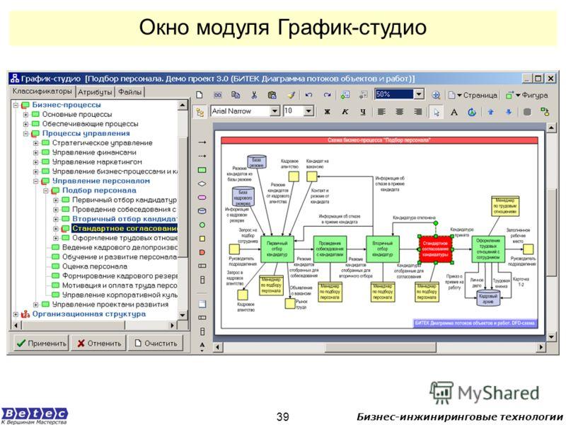 Бизнес-инжиниринговые технологии 39 Окно модуля График-студио