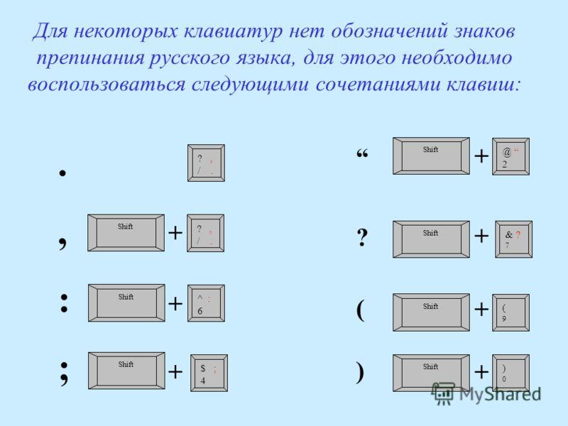 Для некоторых клавиатур нет обозначений знаков препинания русского языка, для этого необходимо воспользоваться следующими сочетаниями клавиш: ?, /. Shift ?, /. Shift ^ : 6 Shift $ ; 4 Shift @ 2 Shift & ? 7 Shift (9(9 )0)0.,:;.,:; ++++++ ++++++++ ? (