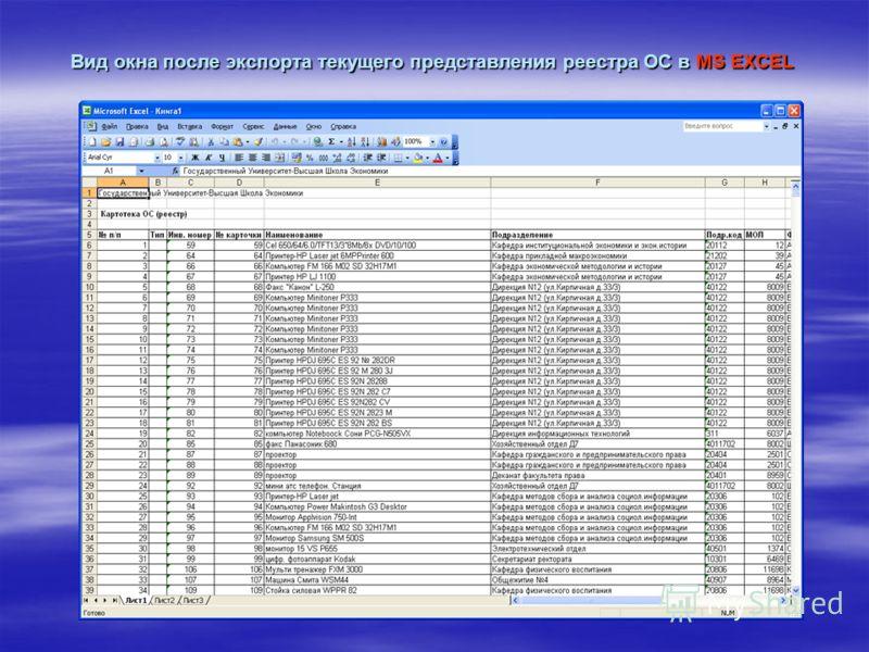 Вид окна после экспорта текущего представления реестра ОС в MS EXCEL