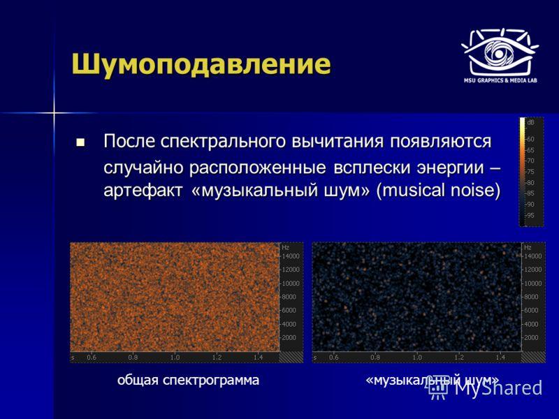 Шумоподавление После спектрального вычитания появляются После спектрального вычитания появляются случайно расположенные всплески энергии – артефакт «музыкальный шум» (musical noise) «музыкальный шум»общая спектрограмма