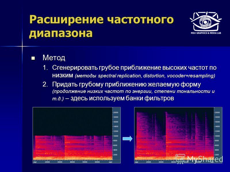 Расширение частотного диапазона Метод Метод 1.Сгенерировать грубое приближение высоких частот по низким (методы spectral replication, distortion, vocoder+resampling) 2.Придать грубому приближению желаемую форму (продолжение низких частот по энергии,