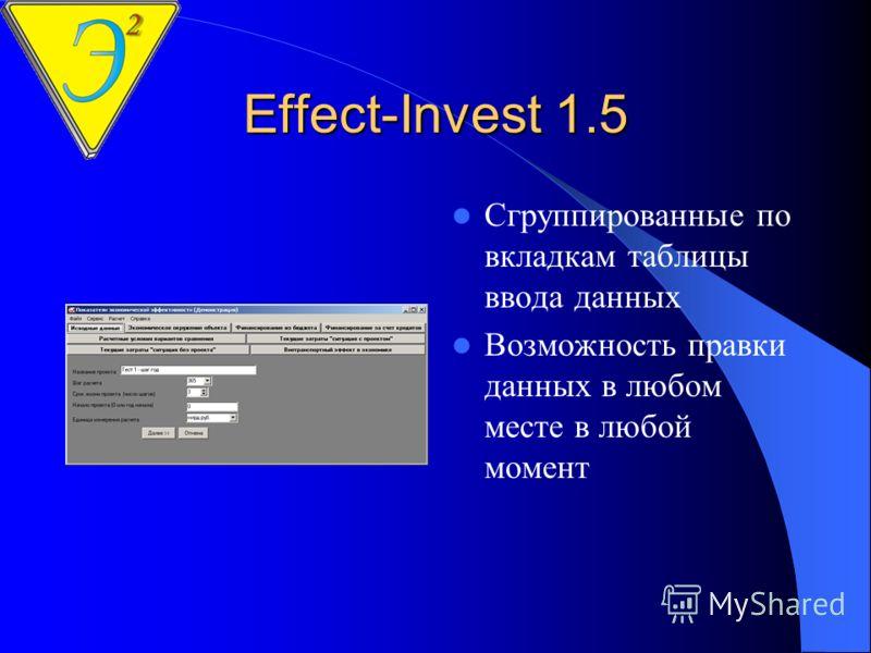Effect-Invest 1.5 Программа обучения пользования программой Возможность экспорта данных и результатов в Excel Полный текст руководства в формате Word