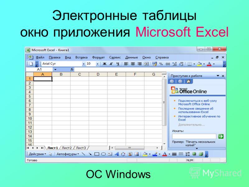 Электронные таблицы окно приложения Microsoft Excel ОС Windows