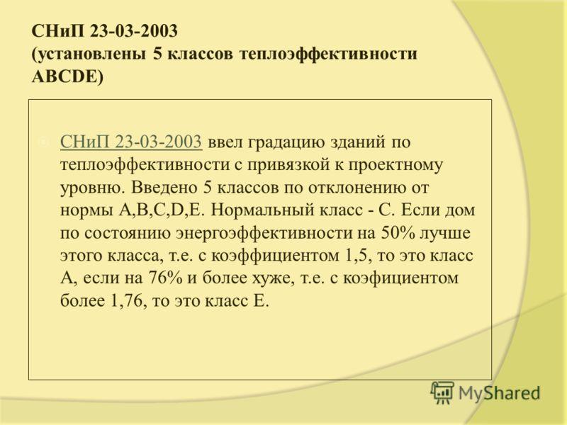СНиП 23-03-2003 (установлены 5 классов теплоэффективности ABCDE) СНиП 23-03-2003 ввел градацию зданий по теплоэффективности с привязкой к проектному уровню. Введено 5 классов по отклонению от нормы А,В,C,D,E. Нормальный класс - С. Если дом по состоян
