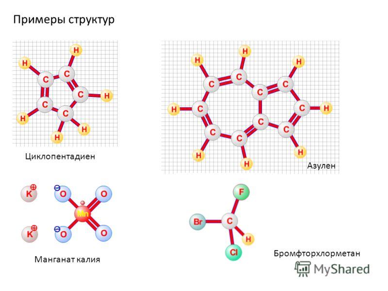 Примеры структур Циклопентадиен Манганат калия Азулен Бромфторхлорметан