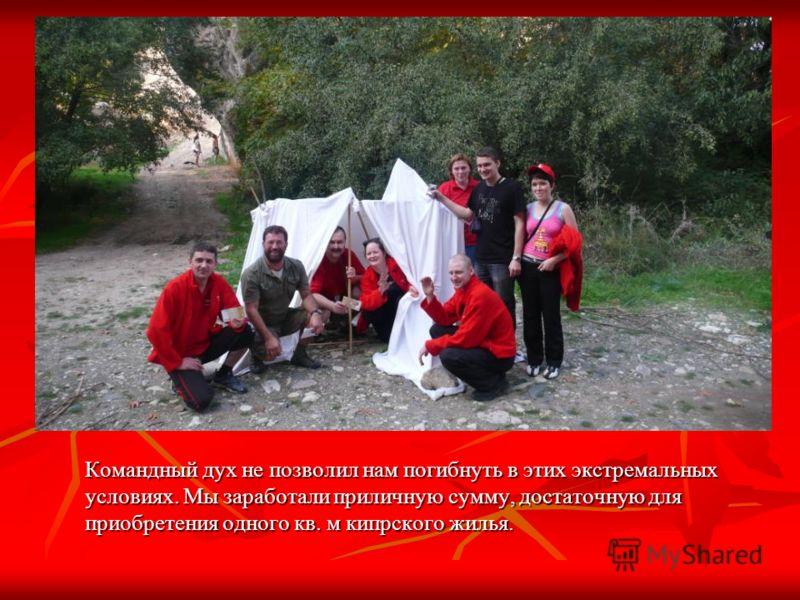 Командный дух не позволил нам погибнуть в этих экстремальных условиях. Мы заработали приличную сумму, достаточную для приобретения одного кв. м кипрского жилья.