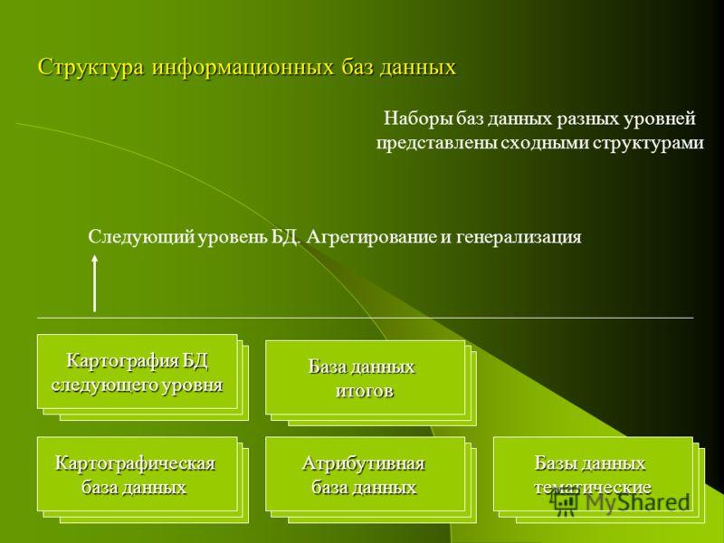 Структура информационных баз данных Атрибутивная база данных База данных итогов Базы данных тематическиеКартографическая база данных Наборы баз данных разных уровней представлены сходными структурами Картография БД следующего уровня Следующий уровень