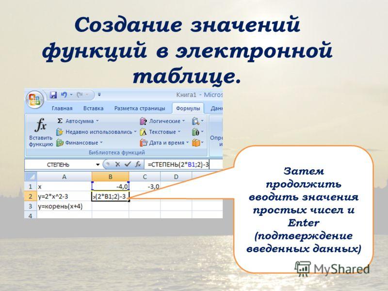 Создание значений функций в электронной таблице. Затем продолжить вводить значения простых чисел и Enter (подтверждение введенных данных)