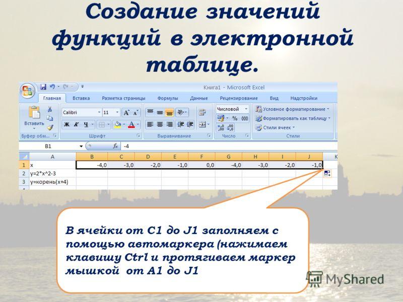 Создание значений функций в электронной таблице. В ячейки от С1 до J1 заполняем с помощью автомаркера (нажимаем клавишу Ctrl и протягиваем маркер мышкой от А1 до J1