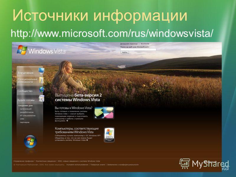 Источники информации http://www.microsoft.com/rus/windowsvista/