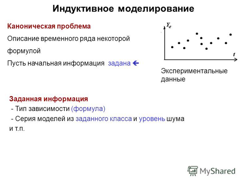 Индуктивное моделирование Каноническая проблема Описание временного ряда некоторой формулой Пусть начальная информация задана Заданная информация - Тип зависимости (формула) - Серия моделей из заданного класса и уровень шума и т.п. Экспериментальные