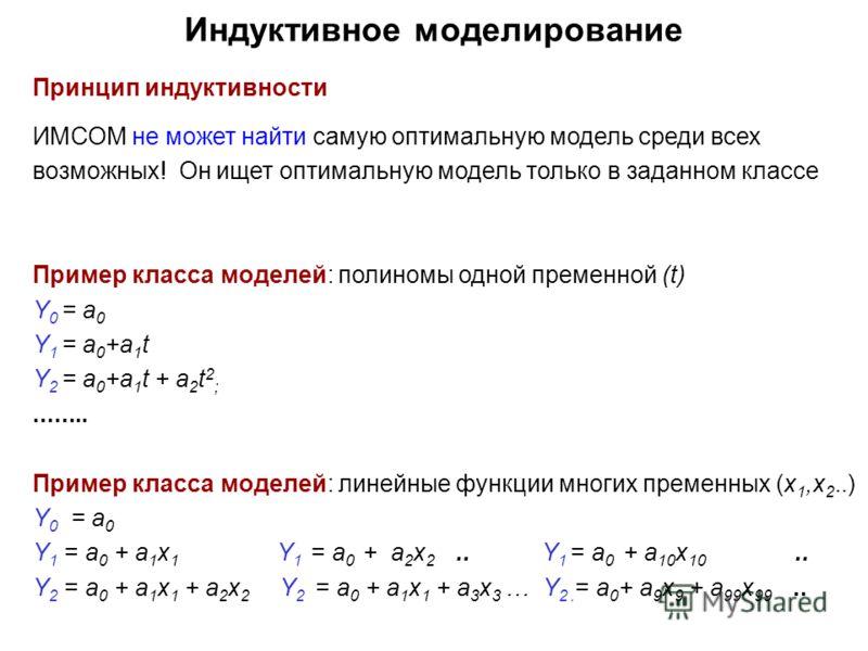 Индуктивное моделирование Принцип индуктивности ИМСОМ не может найти самую оптимальную модель среди всех возможных! Он ищет оптимальную модель только в заданном классе Пример класса моделей: полиномы одной пременной (t) Y 0 = a 0 Y 1 = a 0 +a 1 t Y 2