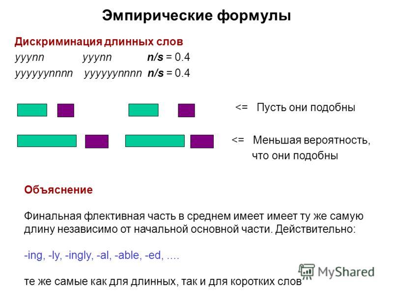 Дискриминация длинных слов yyynn yyynn n/s = 0.4 yyyyyynnnn yyyyyynnnn n/s = 0.4