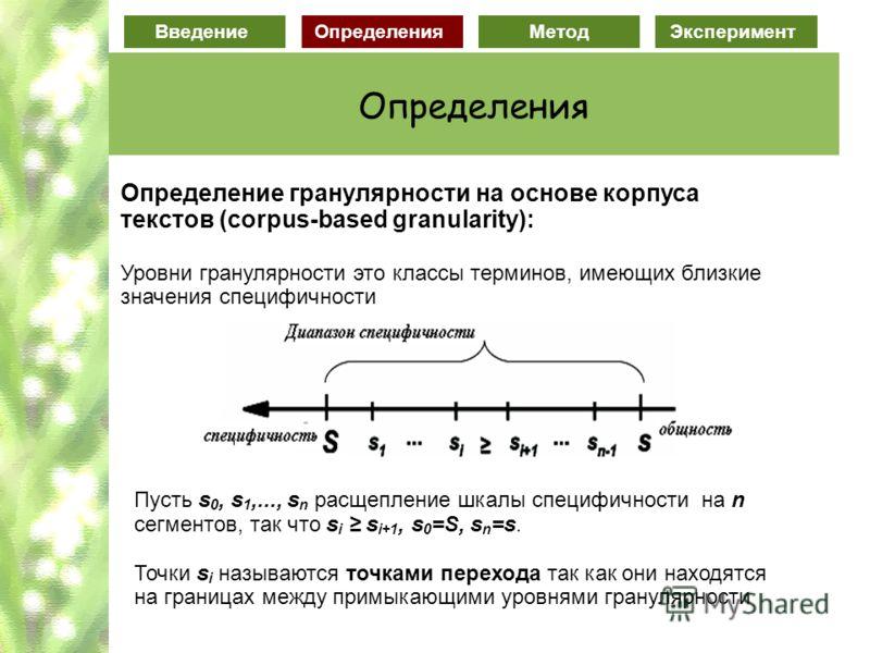 ВведениеОпределенияМетодЭксперимент Определения Определение гранулярности на основе корпуса текстов (corpus-based granularity): Уровни гранулярности это классы терминов, имеющих близкие значения специфичности Пусть s 0, s 1,..., s n расщепление шкалы