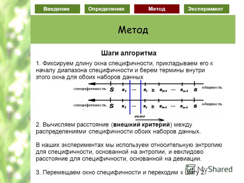 ВведениеОпределенияМетодЭксперимент Метод Шаги алгоритма 1. Фиксируем длину окна специфичности, прикладываем его к началу диапазона специфичности и берем термины внутри этого окна для обоих наборов данных 2. Вычисляем расстояние (внешний критерий) ме