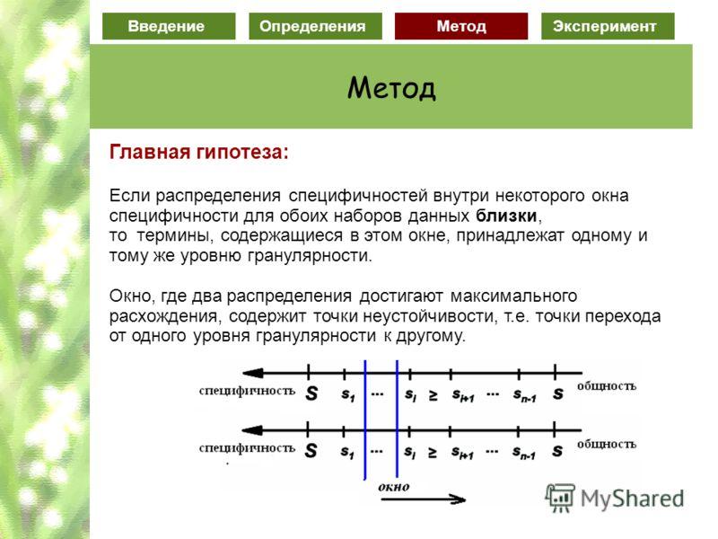 ВведениеОпределенияМетод Эксперимент Метод Главная гипотеза: Если распределения специфичностей внутри некоторого окна специфичности для обоих наборов данных близки, то термины, содержащиеся в этом окне, принадлежат одному и тому же уровню гранулярнос