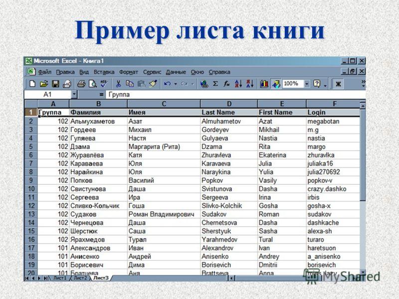 Пример листа книги