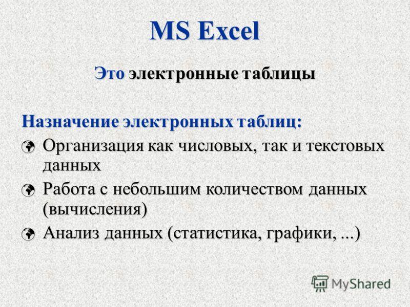 MS Excel Это электронные таблицы Назначение электронных таблиц: Организация как числовых, так и текстовых данных Организация как числовых, так и текстовых данных Работа с небольшим количеством данных (вычисления) Работа с небольшим количеством данных