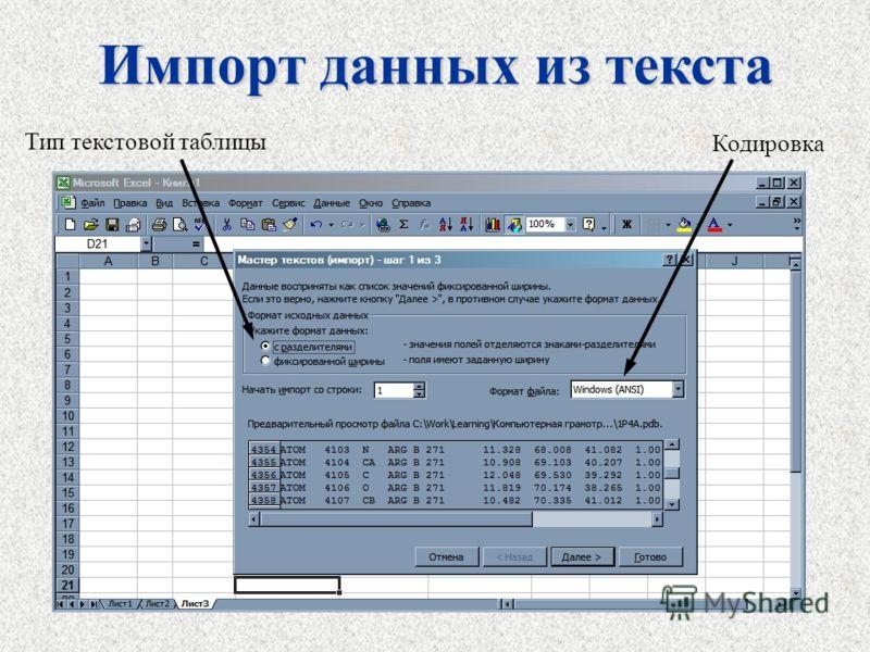 Импорт данных из текста Кодировка Тип текстовой таблицы