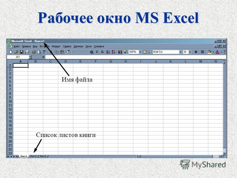 Рабочее окно MS Excel Имя файла Список листов книги