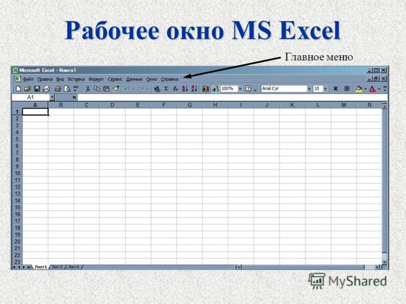 Рабочее окно MS Excel Главное меню