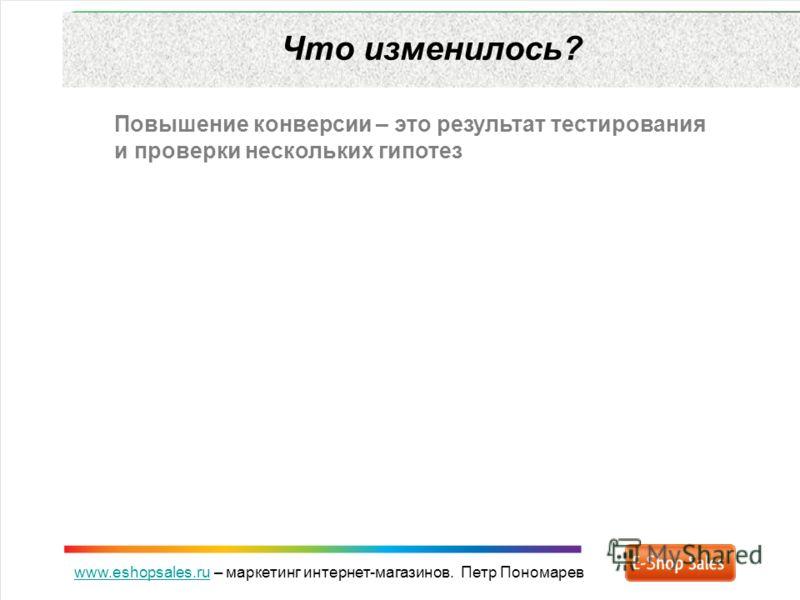www.eshopsales.ruwww.eshopsales.ru – маркетинг интернет-магазинов. Петр Пономарев Что изменилось? Повышение конверсии – это результат тестирования и проверки нескольких гипотез
