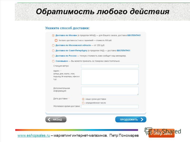 www.eshopsales.ruwww.eshopsales.ru – маркетинг интернет-магазинов. Петр Пономарев Обратимость любого действия