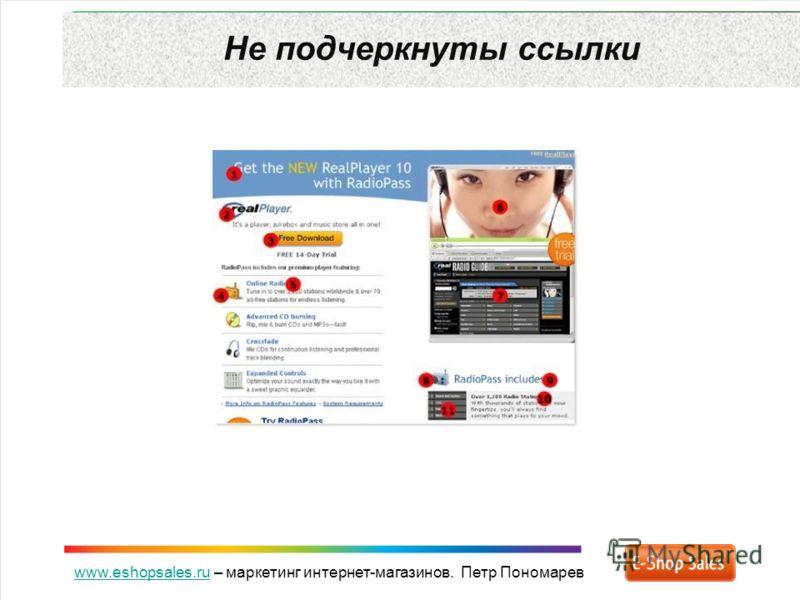 www.eshopsales.ruwww.eshopsales.ru – маркетинг интернет-магазинов. Петр Пономарев Не подчеркнуты ссылки
