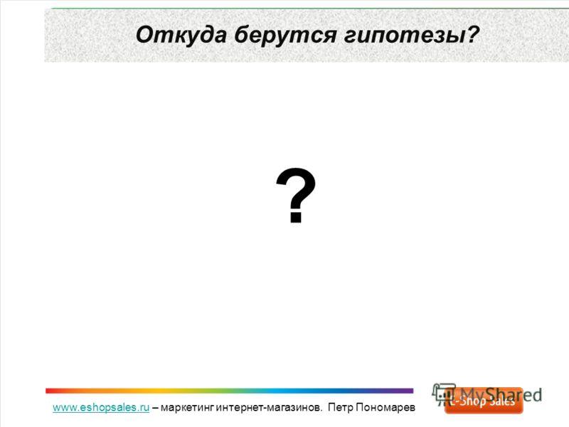 www.eshopsales.ruwww.eshopsales.ru – маркетинг интернет-магазинов. Петр Пономарев Откуда берутся гипотезы? ?