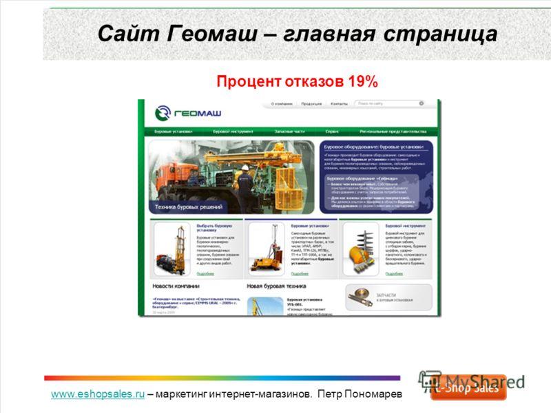 www.eshopsales.ruwww.eshopsales.ru – маркетинг интернет-магазинов. Петр Пономарев Сайт Геомаш – главная страница Процент отказов 19%