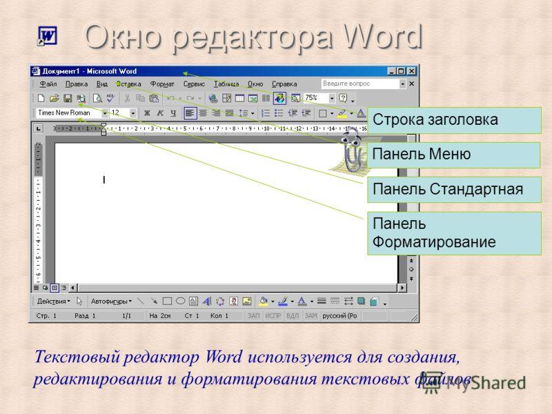 Строка заголовка Панель Меню Панель Стандартная Панель Форматирование Текстовый редактор Word используется для создания, редактирования и форматирования текстовых файлов