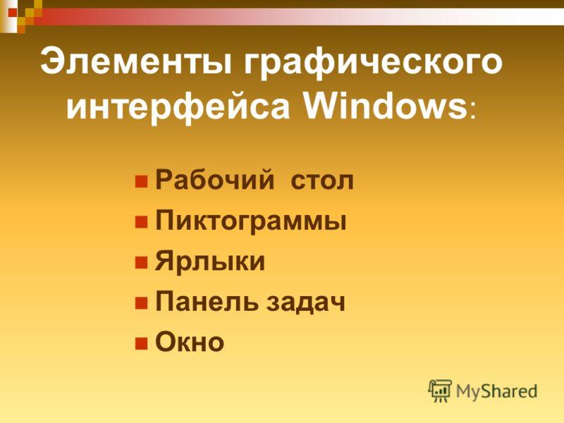 Элементы графического интерфейса Windows : Рабочий стол Пиктограммы Ярлыки Панель задач Окно