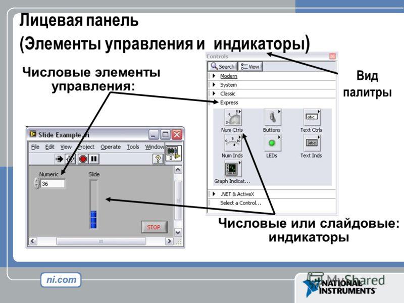 Лицевая панель (Элементы управления и индикаторы ) Числовые или слайдовые: индикаторы Числовые элементы управления: Вид палитры