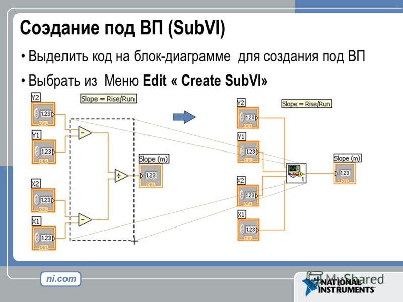 Соэдание под ВП (SubVI) Выделить код на блок-диаграмме для создания под ВП Выбрать из Меню Edit « Create SubVI»