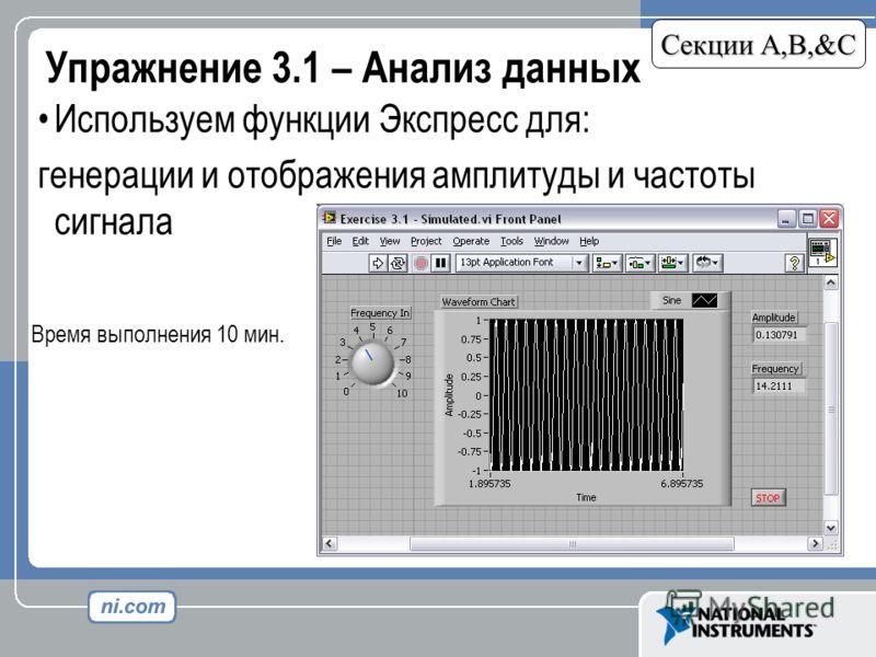 Упражнение 3.1 – Анализ данных Секции A,B,&C Используем функции Экспресс для: генерации и отображения амплитуды и частоты сигнала Время выполнения 10 мин.