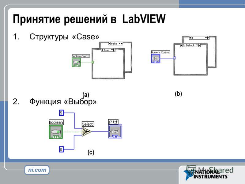 Принятие решений в LabVIEW 1. Структуры «Case» 2. Функция «Выбор» (a) (b) (c)