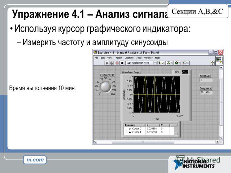 Упражнение 4.1 – Анализ сигнала Секции A,B,&C Используя курсор графического индикатора: –Измерить частоту и амплитуду синусоиды Время выполнения 10 мин.