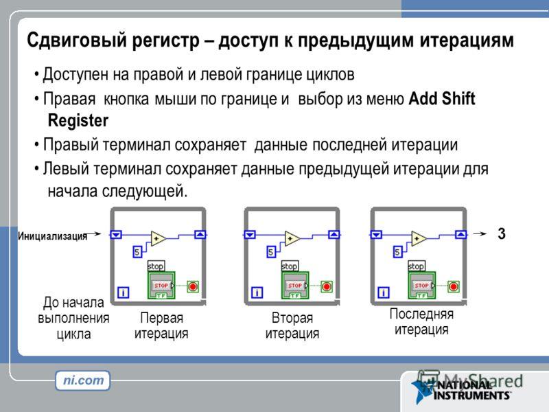 Сдвиговый регистр – доступ к предыдущим итерациям Доступен на правой и левой границе циклов Правая кнопка мыши по границе и выбор из меню Add Shift Register Правый терминал сохраняет данные последней итерации Левый терминал сохраняет данные предыдуще