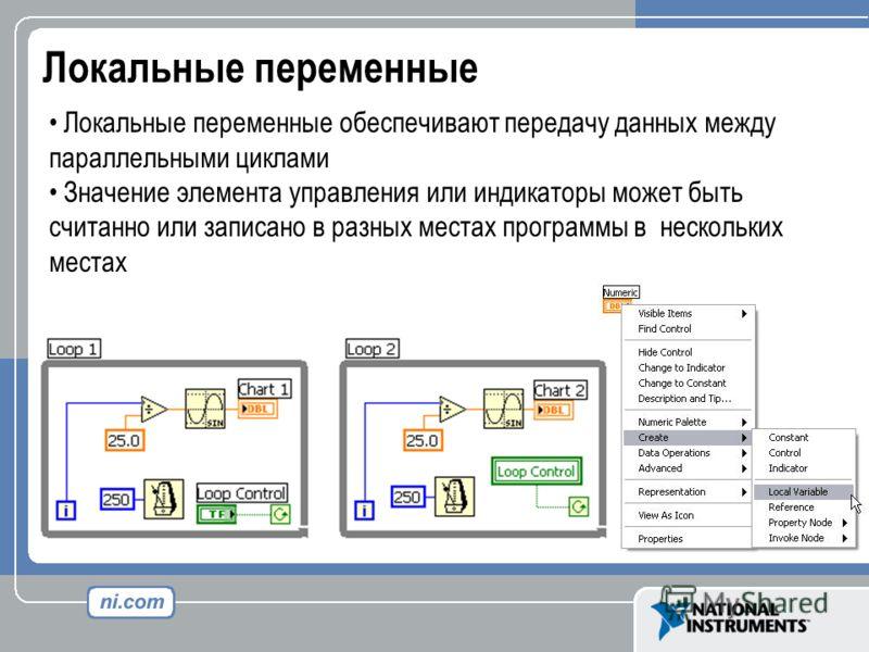 Локальные переменные Локальные переменные обеспечивают передачу данных между параллельными циклами Значение элемента управления или индикаторы может быть считанно или записано в разных местах программы в нескольких местах