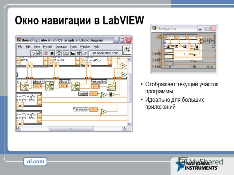 Отображает текущий участок программы Идеально для больших приложений Окно навигации в LabVIEW